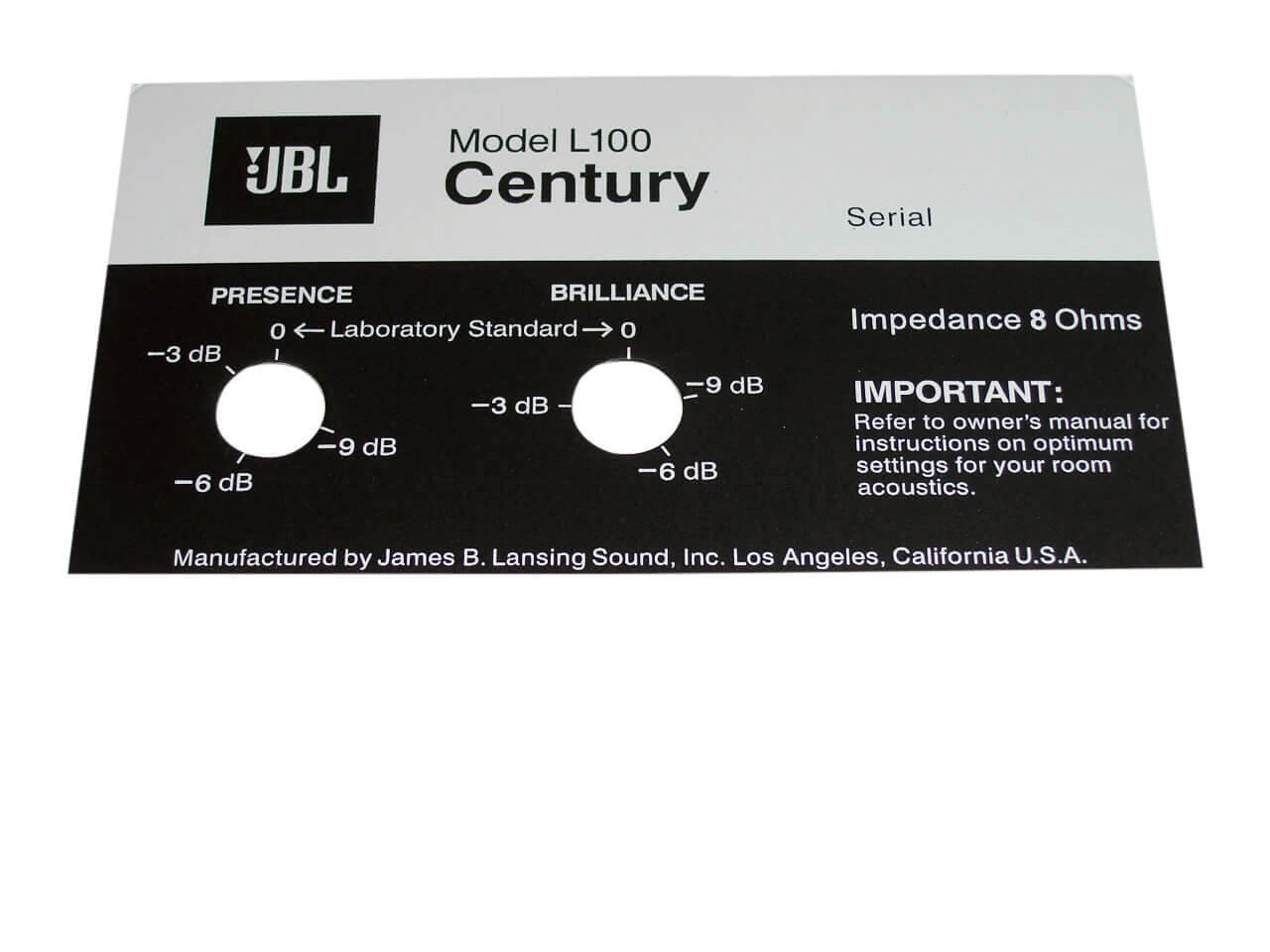 JBL Style Replacement Foil Badge for Century L100 Speaker