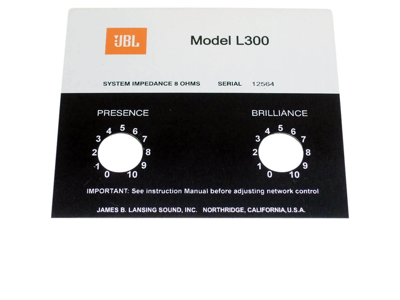 JBL Style Replacement Foil Badge for L300 Speaker