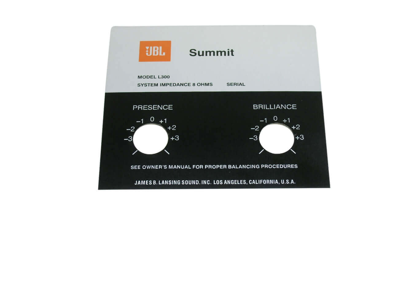JBL Style Replacement Foil Badge for Summit L300 Speaker