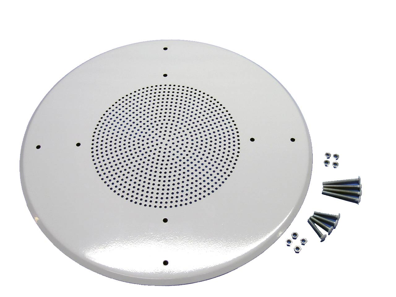 "12"" ceiling or wall metal speaker grill, flush mount, white finish"