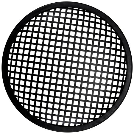 "10"" Metal Waffle Speaker Grill, Black Steel, Rubber Edge, SWG-10"